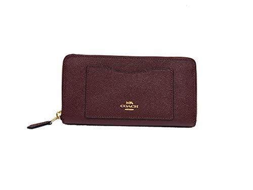 COACH Women's Crossgrain Leather Accordion Zip Wallet Dark Burgundy
