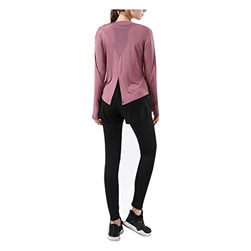 Dawwoti Zweiteilige Outfits für Frauen Langarm-mesh-aktiv Top und Hosen-Gamaschen Set Anzug