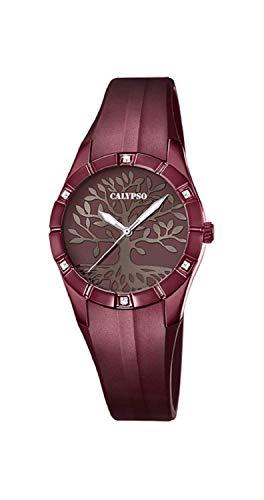 CALYPSO Reloj Modelo K5716/F de la colección Trendy, Caja de 32 mm Marron con Correa de plástico Chocolate para señora