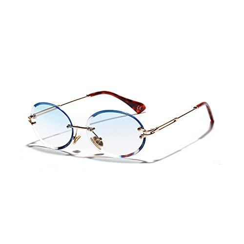 Gafas de sol con corte de diamante retro ovaladas gafas de sol mujer con textura de cristal sin marco