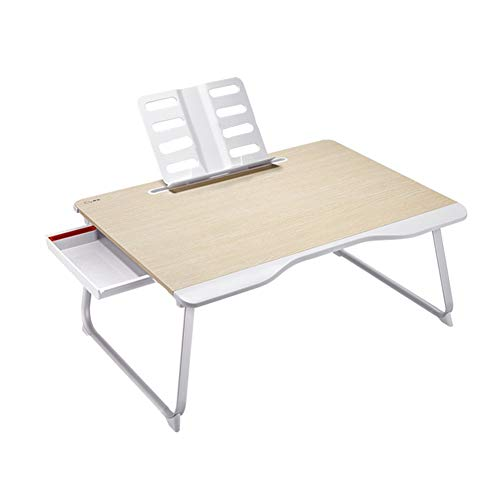 WFSH Laptop Desk, Portable Laptop Bed Tray Table, Lap Desk,Couch Table,Bed Desk,Laptop Desk Table With Handle, Side Drawer For Bed (Color : Wood color, Size : 65×50×30cm)