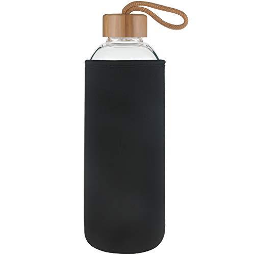 Ferexer Bottiglia di Acqua in Vetro,Borraccia Sportiva in Vetro Borosilicato con Coperchio in bambù e Custodia in Neoprene, 1000 ml Nero