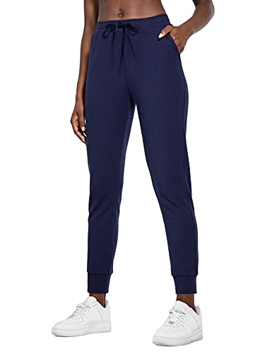 BALEAF Women's Joggers Sweatpants French Terry Cotton Pants Tapered Active Yoga 2.0 Lounge Pants with Pockets Navy Blue 2XL