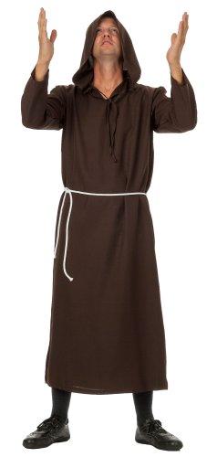 Mönch Robe, Prister Gewand Kostüm ideal für Mottoparty, Halloween, Karneval und Fasching, Braun, Gr.L/XL (40,42)