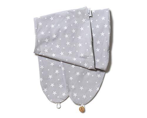Niimo Funda Almohada Embarazo y Lactancia removible y lavabl 100% algodón por AlphaXXL (Gris-Estrellas Blancas)