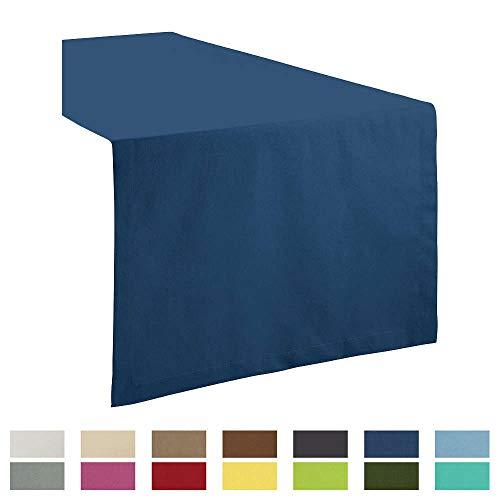 REDBEST Tischdecke, Tischläufer Uni Seattle, 100% Baumwolle - Robustes, glattes Gewebe, mit hochwertigem Kuvertsaum, dunkelblau Größe 40x170 cm (weitere Farben, Größen)