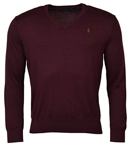 Polo Ralph Lauren Men's Pima Cotton V Neck Long Sleeve Sweater, Red Wine, Large