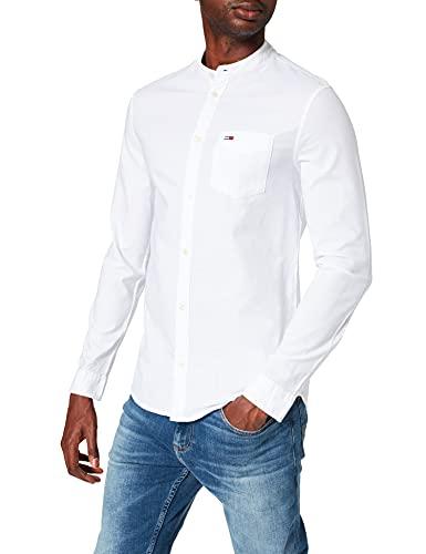 Tommy Jeans TJM Mao Neck Solid Shirt Camisa, Blanco, XL para Hombre