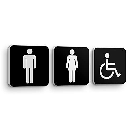 Juego de 3 Placas Señales WC Servicio para Puerta y Pared de Baño - 3pcs de 15 x 15 x 1 cm - Uso Interior y Exterior - Placa Hombre Mujer Señor Señora Dama y Caballero - Adhesivo, PVC-SE-003