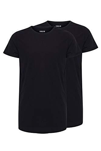 !Solid Longo Herren T-Shirt Kurzarm Shirt Basic Multipack mit Rundhalsausschnitt, Größe:XL, Farbe:Black (9000)