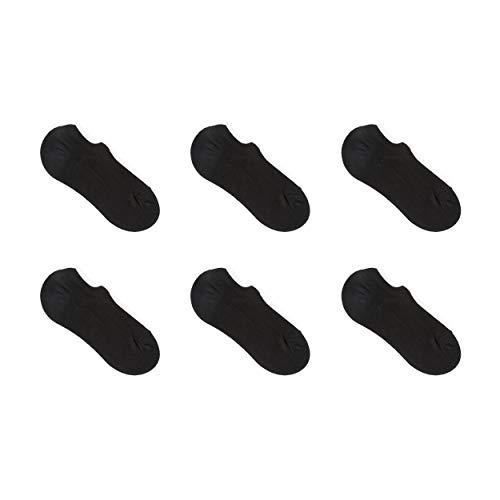 Nuats Calcetines Cortos Invisibles Hombre (Pack de 6 pares). Pinkies de bambú, ecológicos, transpirables, tobilleros, antideslizantes. Para uso diario y para cualquier ocasión (Negro, 43-46)