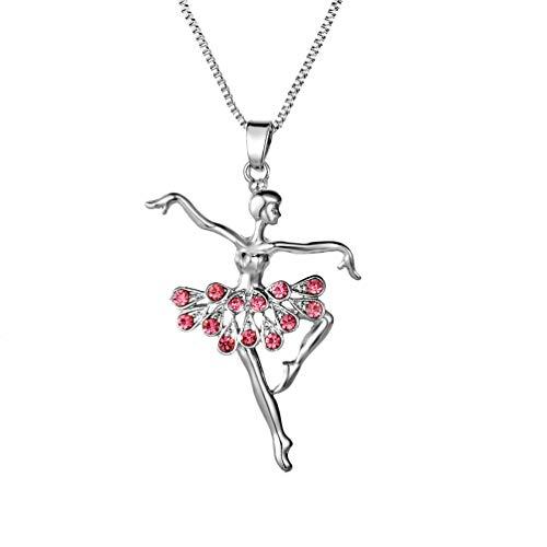 Silver Elements - Collar con colgante con motivo de bailarina ballet en diamante de cristal para mujer y niña