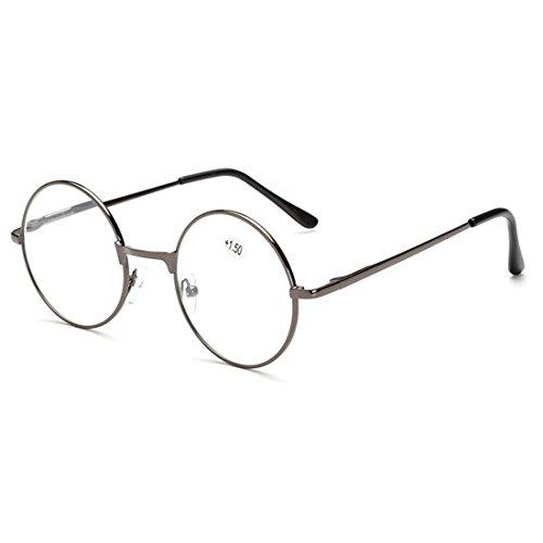 Aiweijia Reading Glasses Retro Unisex marco de Metal de la vendimia marco de Metal Spring con bisagras redondo de lectura Glasses Classic