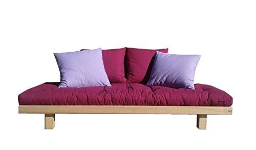 Vivere Zen - Divano Letto Bio Wood Misure 70x200 + Futon colorato e 2 Cuscini