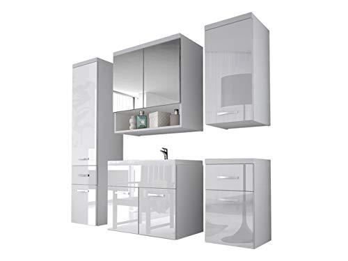 Badmöbel Set Bella II mit Waschbecken und Siphon, Modernes Badezimmer, Komplett, Spiegel, Waschtisch, Hochschrank, Hängeschrank Möbel (Weiß/Weiß Hochglanz)