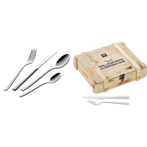 Zwilling Bela Set de cubiertos de mesa, 42 piezas, acero inoxidable, 35 x 25 x 10 cm + Steak Set juego de cubiertos, acero inoxidable, 12 piezas