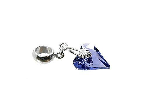 CLASSIC DESIGN Sterling Silver 925 Genuine Swarovski Tanzanite Crystal Wild Heart Bead Dangle Charm 6MM Hole N538TD