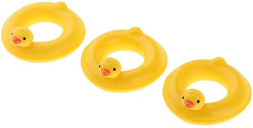 WXH SLL- Netter Puppenstuben Mini-Ente-Schwimmen-Ring Lifebelt Schwimmenschöße Boje Kinder Pretend Play-Spielzeug-Zubehör (12 PCS)