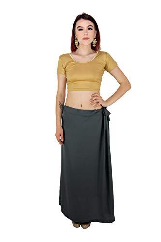 Várias cores – Anágua indiana sari costurada com sari e cintura ajustável, Cinza, One Size