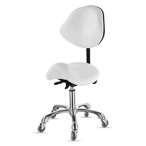 Opqpq Adjustable Saddle Stool with Back Support, Swivel Rolling, Comfortable Ergonomic Spa Bar Stool Chair for Salon Workshop Home Office Studio Clinic(White)