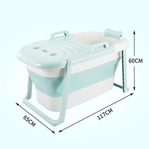 Inflatable tub Baignoire en Plastique portative Pliable, Baignoire de Pliage épaisse et Pliante avec Main Courante et Dossier, Baignoire de Natation pour bébé (Color : Green, Size : with Cover)