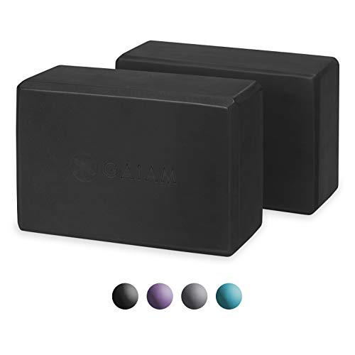 Gaiam Essentials Yoga Block (Set Of 2) - Supportive Latex-Free Eva Foam Soft Non-Slip Surface For Yoga, Pilates, Meditation, Black