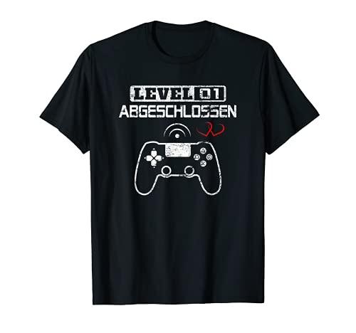 Level 1 Abgeschlossen 1. Hochzeitstag Geschenk Frauen Männer T-Shirt