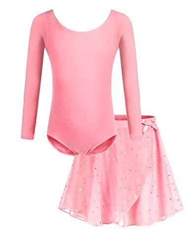 Bricnat Mädchen Ballettkleidung Ballettkleid Tanzbody Gymnastikanzug Balletttrikot Langarm Tanzkleid mit Tütü Kinder Baumwolle Dunkelrosa 120