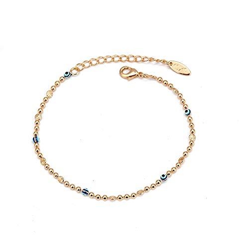 Tobillera turca azul de ojo malvado, pulsera de tobillo con cadena de pie de cuentas de Color dorado, ajustable para mujeres y niñas, joyería