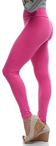 LMB Women's Extra Soft Leggings with High Yoga Waist Pants 40+ Colors Plus Sizes (One Size (XS - XL), Fuchsia)
