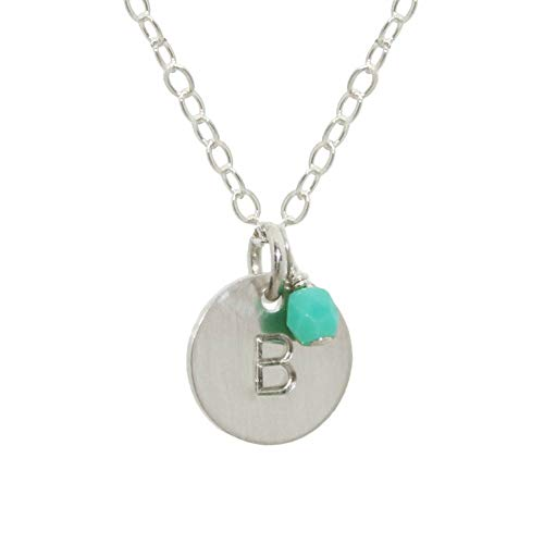 EFYTAL Sterling Silver Initial Necklace with Birth Month Charm, Tiny Dainty Personalized Letter Disc, small