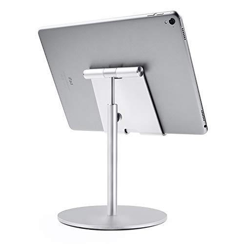 QinCoon Tablet Ständer, Große Höhenverstellbare Aluminium Halterung, 360° Drehbar Tisch Tablet Halter Kompatibel mit iPad, Samsung Tab, Kindle (4-13 Zoll) (Silber)