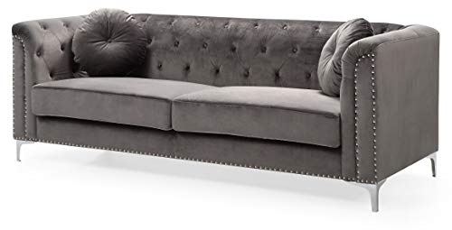 Glory Furniture Pompano Sofa, Dark Gray. Living Room Furniture, 31' H x 83' W x 34' D