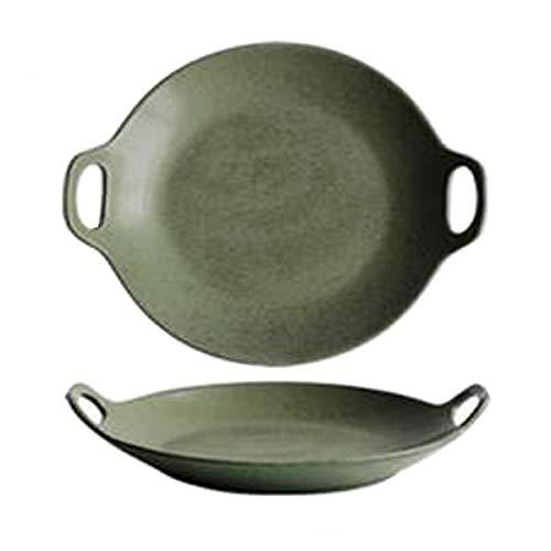 Kochplatte, Keramikkochplatte, Westliche Kochplatte aus japanischer Bronze Keramik, Steakplatte, 19,5 x 18,8 x 4 cm 15.5 * 10.8 * 8.4cm natur