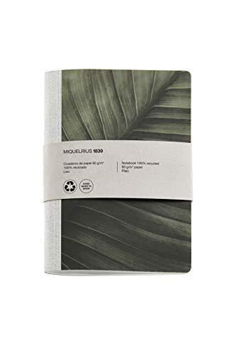 Miquel Rius - Cuaderno bonito reciclado, encuadernación con grapa y lomo de tela, tamaño 152 x 210 mm, 56 páginas lisas de 80 g/m², diseño Hoja