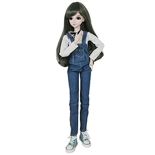 EVA BJD 1/3 SD-Puppe, 60 cm, Kugelgelenk, Geschenk, BJD-Puppe + Make-up + komplettes Set, Schuluniform, Mädchen, grau-grünes Haar