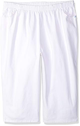 Chic Classic Collection Women's Stretch Elastic Waist Pull on Denim Capri, White, 10 AVG