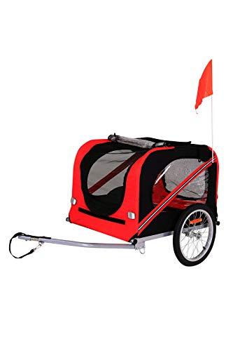 dibea PT10755, Hunde Fahrrad-Anhänger mit Kupplung und Sicherheitsgurten, rot/schwarz