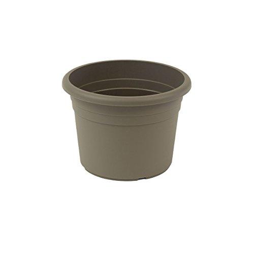 greemotion Vaso fiori rotondo in plastica con fori  Fiona , fioriera, volume ca. 8 l, ca. Ø 30 cm x altezza ca. 21,5 cm, grigio talpa