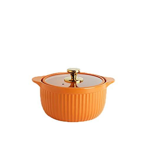 ollas rectas Casserole anti-desbordamiento de cerámica Multifuncional multifuncional olla de cocina con mango dual y tapa de vidrio visual. Pote de sopa resistente al calor Olla Sopa ( Size : 2.5L )