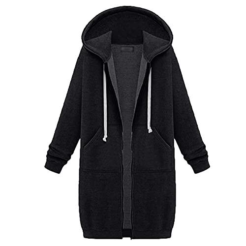 Suéter largo espesado de moda pequeño fresco manga larga cremallera sudadera con capucha suelta con bolsillos sudadera abrigo, Negro, M