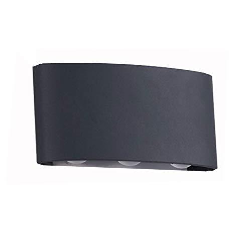 LED Außen Doppelkopf Wandleuchte-moderne Außenwand Hof Korridor Studie Im Freien Wasserdichte Lampe (ohne Lichtquelle) (Color : Schwarz)