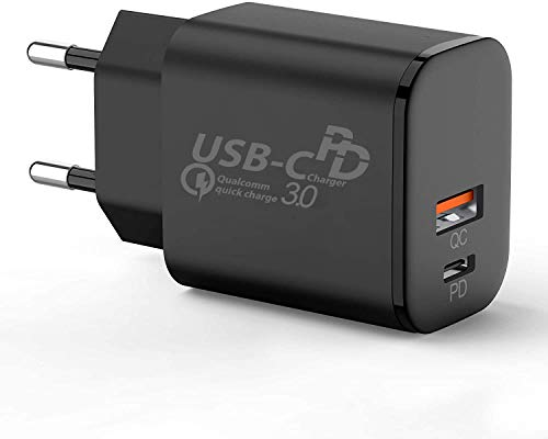 TELEFONMAX Cargador rápido USB C Fast Charge, Power Delivery 3.0 Dual Puerto, USB A para Samsung Galaxy S21/S21+ 5G/S21 Ultra 5G/S20 FES20/S20 Ultra /S10/S10+/S9/S9+/S8/S8+/A71/A51/A41