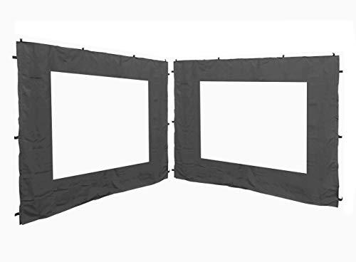 QUICK STAR 2 pannelli laterali con finestrella PE 250x190 cm Grigio per gazebo 3x3m