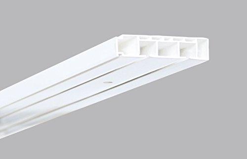 deko-raumshop Vorhangschiene Gardinenschiene Kunststoff Weiß 2-läufig Länge 120 cm bis 250 cm Gardinenleiste Deckenschiene Innenlaufschiene für Gardinen (2-Lauf - 210 cm mit Zubehör)