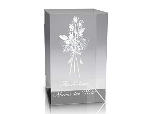 VIP-LASER 3D Glaskristall XL Rosenstrauss mit Text Für die Beste Mama der Welt! graviert