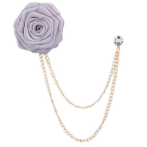 Broches Pano Art Rose Flor Broche de lapela Pin Distintivo Corrente Terno Masculino Acessórios-Cinza
