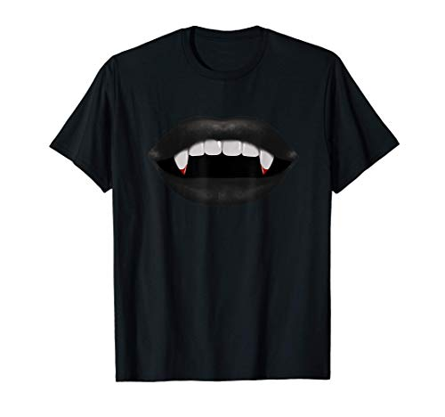 Sexy Lips Blood and Fangs Vampire Design T-Shirt