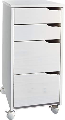 HOME CREATION Rollcontainer Bürocontainer, massivholz, lackiert, B×H×T: ca. 32×66×36 cm, weiß