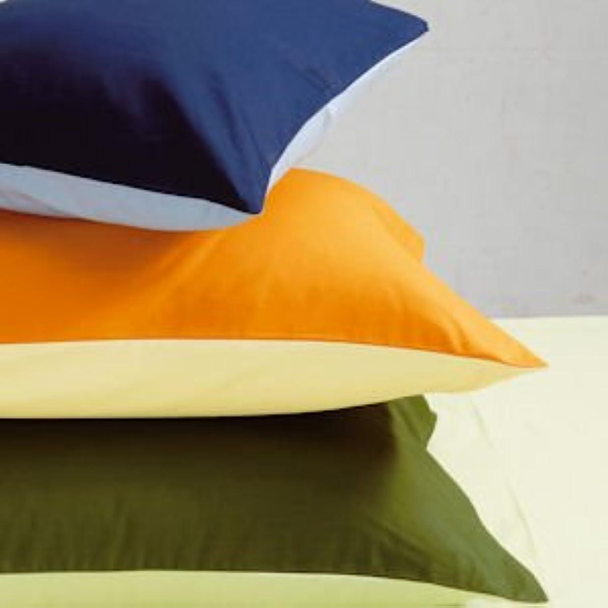 くびれた宝石トロリーバス西川リビング color×color ピローケース(ファスナー式) ME00 サックス×ネイビー